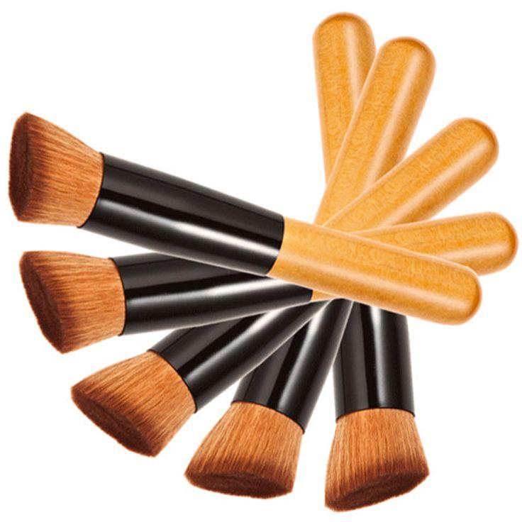 1 ADET Profesyonel Makyaj Fırçalar Pudra Kapatıcı Allık Vakıf Mac Makyaj için makyaj Fırça Seti Ahşap Kabuki VH013