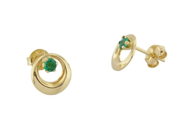 18K yellow gold emerald earrings with 2 round cut natural Colombian emeralds in 0.20 Ct. t.w. by www.GreenInGold.com #earrings #emeralds