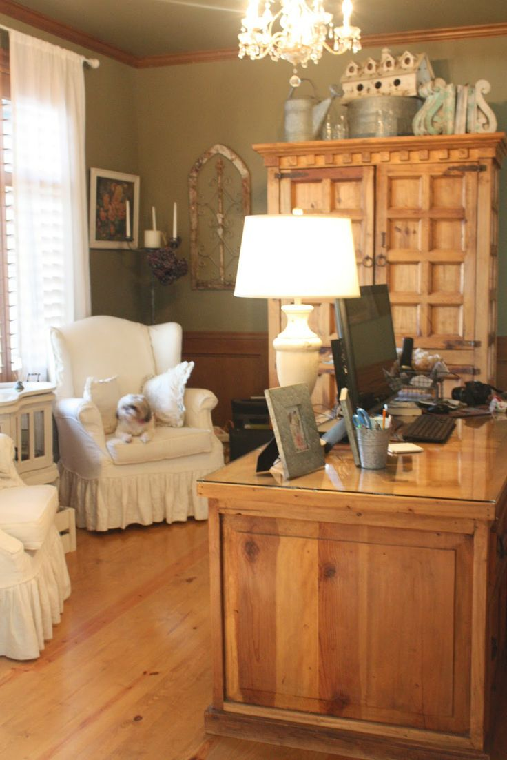 Ruffles and wing back chairs cottage country office love it