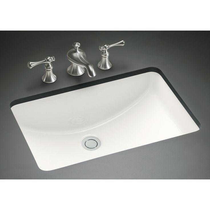 KOHLER Ladena White Undermount Rectangular Bathroom Sink with Overflow at Lowes.com