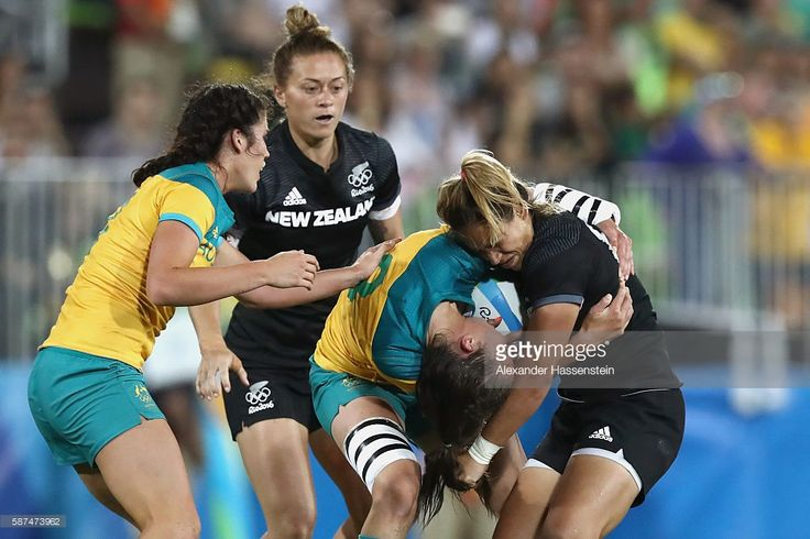 Chloe Dalton of Australia is tackled by Kayla Mcalister of New Zealandduring the Women's Gold Medal Rugby Sevens match between Australia and New Zealand on Day 3 of the Rio 2016 Olympic Games at the Deodoro Stadium on August 8, 2016 in Rio de Janeiro, Brazil.