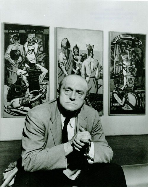"Max Beckmann, 1947, in front of his triptych ""Departure""."