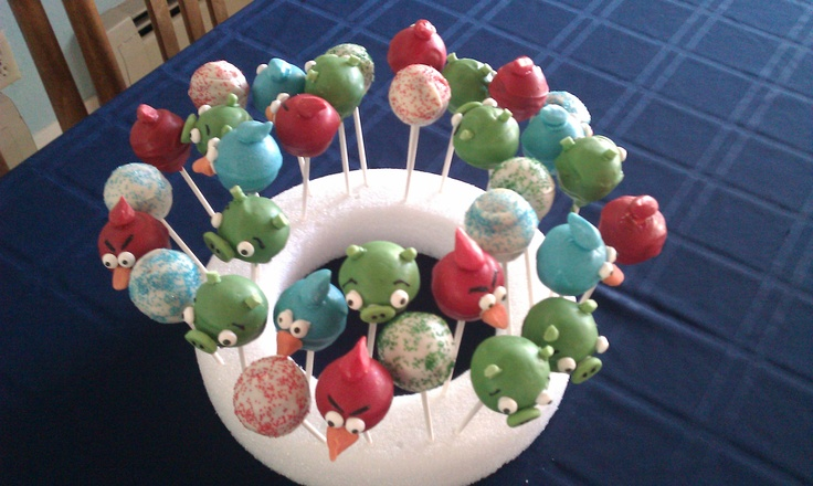 Angry Bird cake pops - my son's idea for his birthday party!