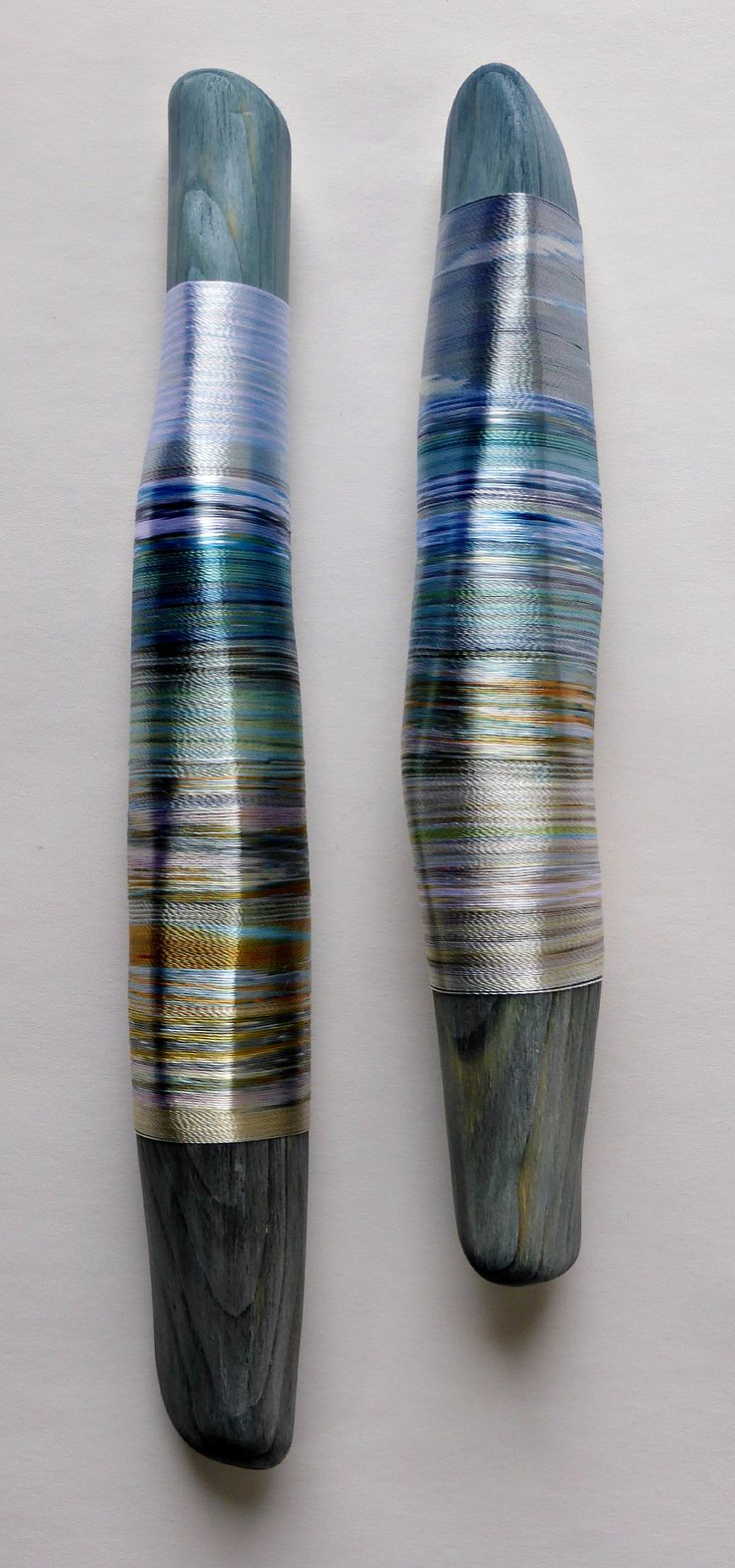 Rhythms of Reflected Shorelines. Hand-dyed threads. Helena Emmans.