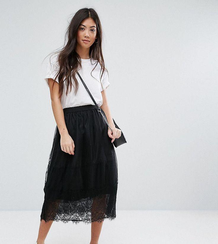 New Look Petite Tulle Lace Trim Midi Skirt - Blue