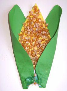 sweetcorn collage / harvest festival theme for Playgroup