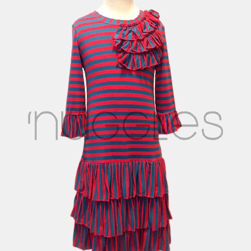 Ruffled Bella Dress in mustard and navy from Nuggles Boutique