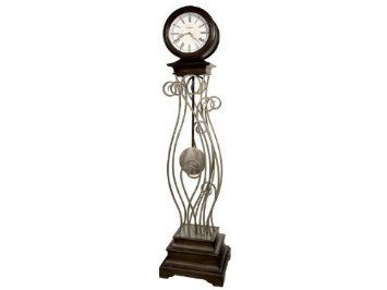 This elaborate metal framework floor clock features an Antique Nickel finish with an Earth Brown finished top and base.    The off-white dial features Roman numerals and an organic center decoration that complements the metal framework of the body.   contemporary grandfather clocks