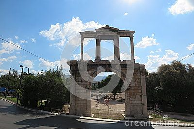 Arch of Hadrian / Hadrian`s gate in Athens, Greece.
