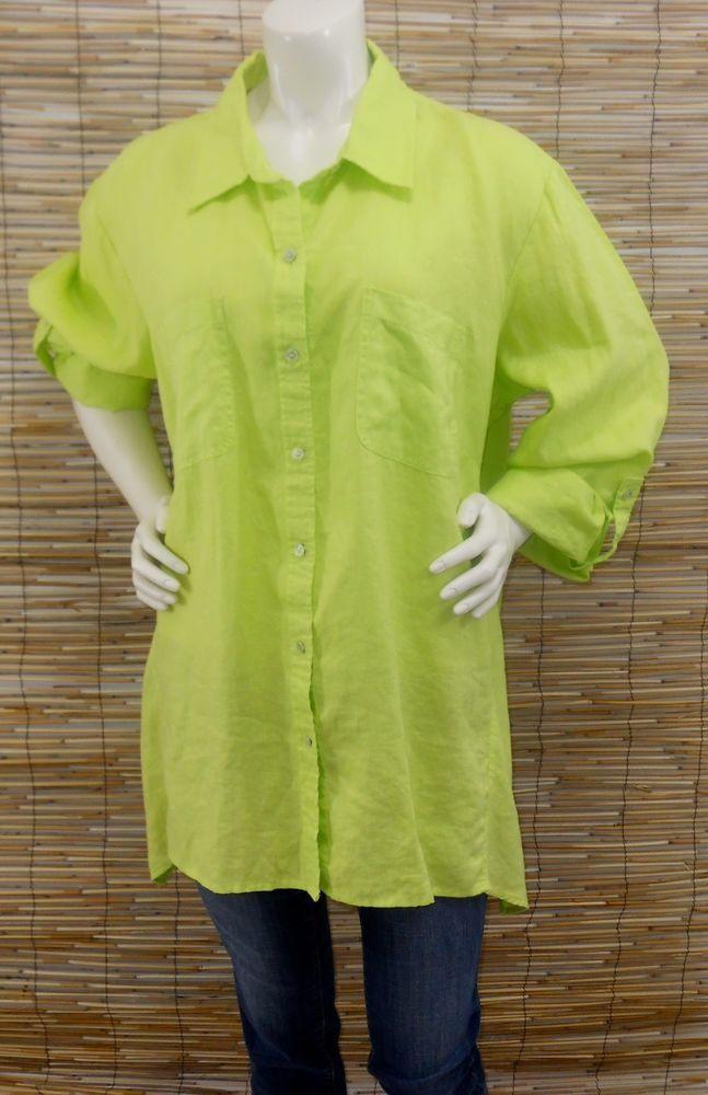 902864e0 NWT Jones New York Signature 3X Linen Trapeze Top Lime Green Button Down  Shirt #JonesNewYork #ButtonDownShirt #Casual