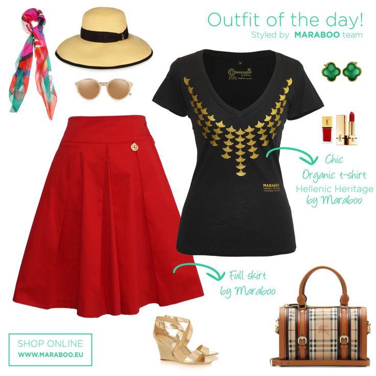 Maraboo red pleated skirt $105€,princess Iphigenia t-shirt $64.90€
