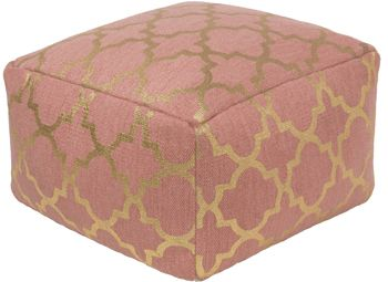 A metallic printed Moroccan tile design lends an exotic touch to the Cecily pouf, hand-woven in India of 100% cotton ($140) from @suryasocial. surya.com