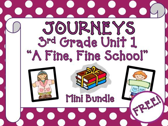 "Journeys 3rd Grade - This mini bundle contains a variety of activities from the Journeys Third Grade Unit 1 first story ""A Fine, Fine School"", humorous fiction. This can be used to teach, re-teach, practice or assess the vocabulary and comprehension of this story. FREE!!"