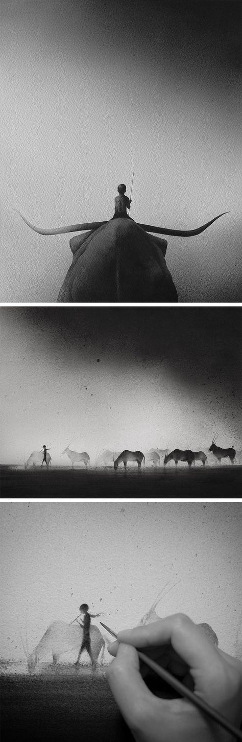 Hazy Black Watercolor Paintings of Children with Animals by Elicia Edijanto