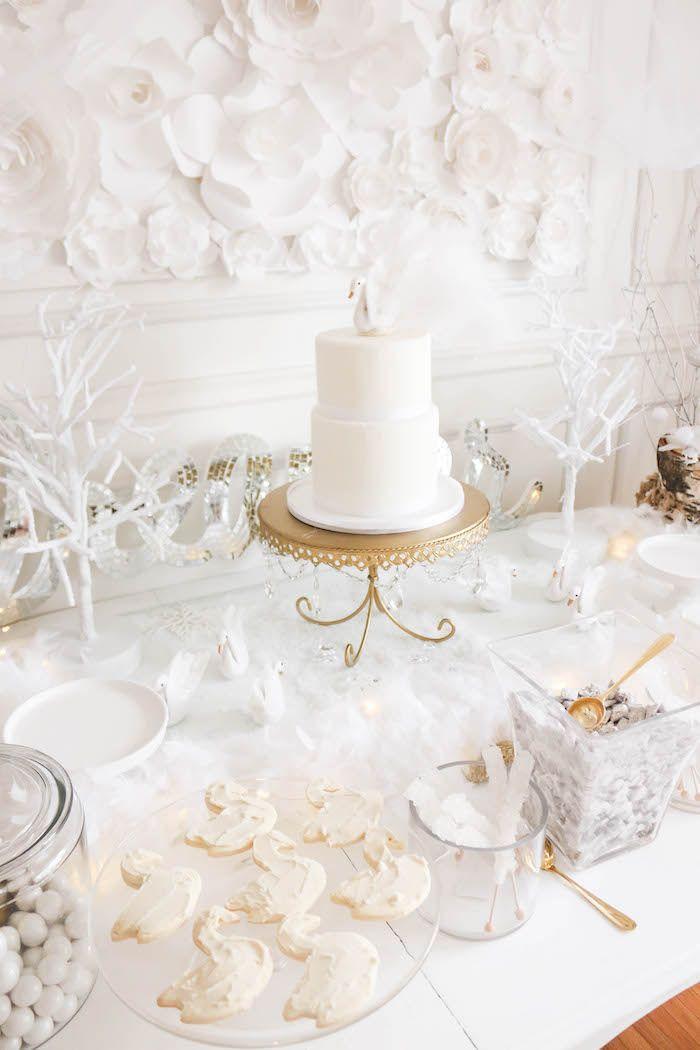 Cake table from a Swan Lake Birthday Party on Kara's Party Ideas | KarasPartyIdeas.com (16)