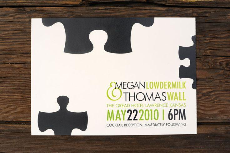 Giant Puzzle Pieces Wedding Invitations