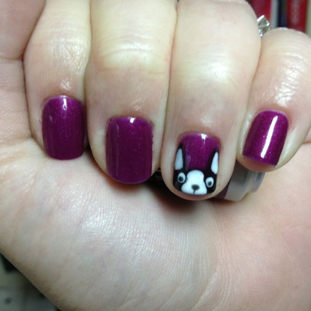 Boston Terrier Nail Art - one of my early Soak Off Gel creations.