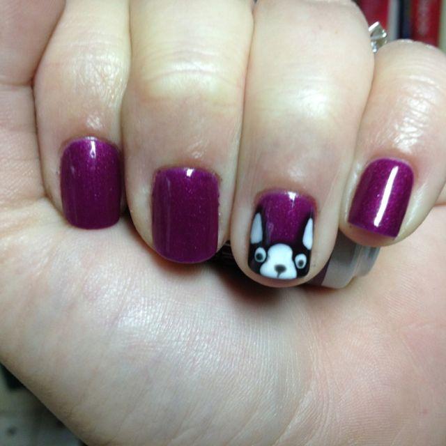 Boston Terrier Nail Art (would love to see this in red!): Boston Terrier Nails, Fingertips Nails, Awesome Nails, Gel Nails, Finger Nails, Boston Terriers, Boston Themed Nail, Amazing Nails, Nail Art