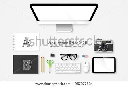 Creative Workspace, set of objects for business. Vector illustration - stock vector
