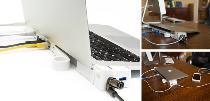 LandingZone 2.0 PRO - The Sleek Macbook Docking Station - $199 - http://coolpile.com/gadgets-magazine/landingzone-2-0-pro-the-sleek-macbook-docking-station/ via CoolPile.com  Docking Station, Gifts For Her, Gifts For Him, Mac, MacBook, Security, USB