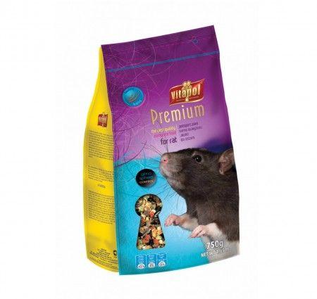 Vitapol Karma pełnoporcjowa Premium dla szczura 750 g. Pokarm pełnowartościowy dla szczura w opakowaniu z folii.