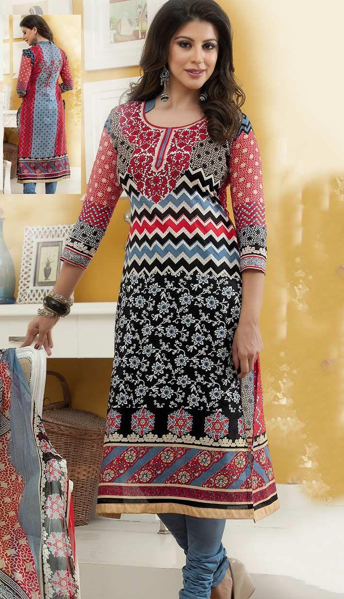Select the Beautiful Bollywood Latest Black Cotton Churidar Kameez #PrintedDresses Online.  #Price INR- 2362 Link- http://alturl.com/yxqsg