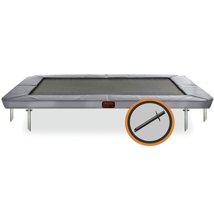 Maatrampoliini joka sulautuu ympäristöön! Pro-Line on suorakaiteen muotoinen maahan upotettava trampoliini! Katso!