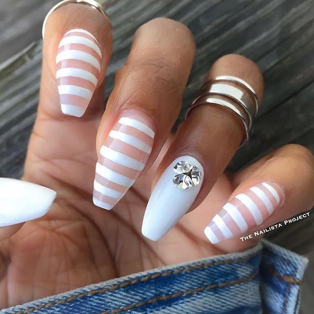 nailsmagazine: Bold in a white set by @thenailistaproject. #summernails #nailsmagazine #acrylicnails