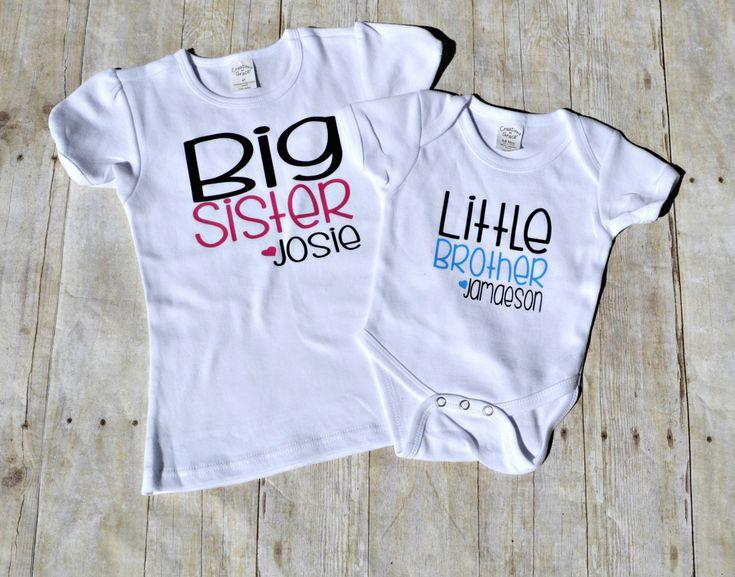 sibling shirts, new baby shirt, big sister tshirt, little brother tshirt, personalized sibling shirts, lil bro, big sis, matching sibling by CaffeineAndWine on Etsy