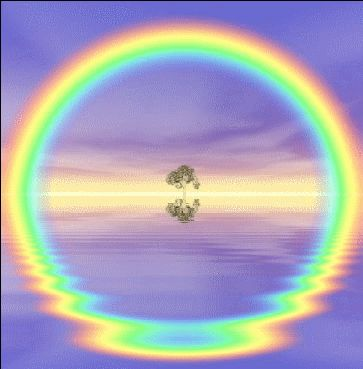 Reflection causes circular rainbow