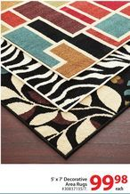 5' x 7' Decorative Area Rugs from Walmart Canada $99.98