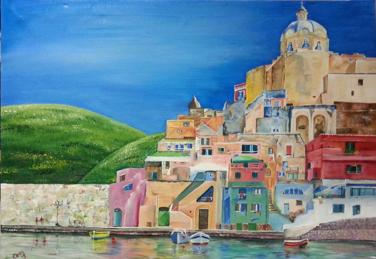 Italy Procida .Heuwels fantasties/ Fantastic hills. Oils by Caren