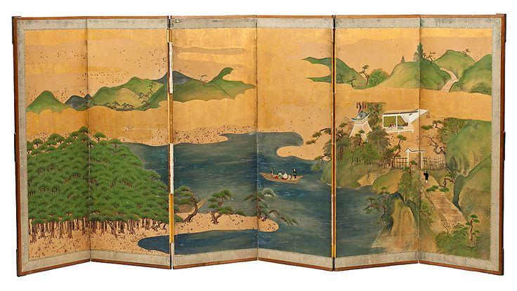Biombo japonés Meiji en papel pintado, de finales del siglo XIX-principios del siglo XX