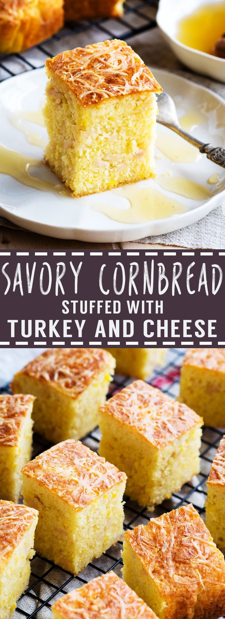 Savory Cornbread with Turkey and Cheese | The Worktop -- Easy to make and incredibly delicious with a golden crispy crust and soft tender inside