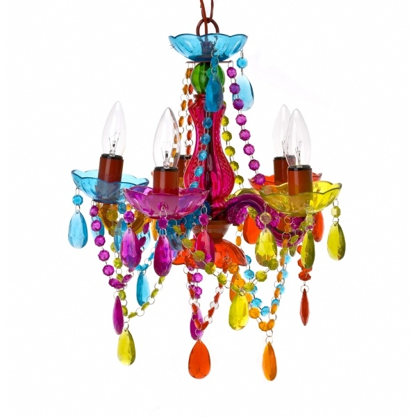 Multicoloured chandelier. Have no idea where I'd put it, but… Hang it over a bedroom night table