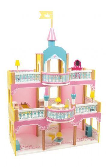 Dukkehus i tre, slott med møbler