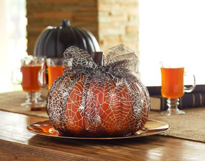 Tulle-Wrapped Pumpkin