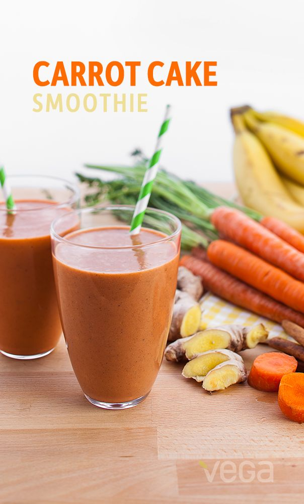 Carrot Cake  Smoothie: This delicious smoothie recipe combines carrots and spice (and everything nice). Enjoy it as a satisfying breakfast or healthy afternoon snack! #VegaSmoothie