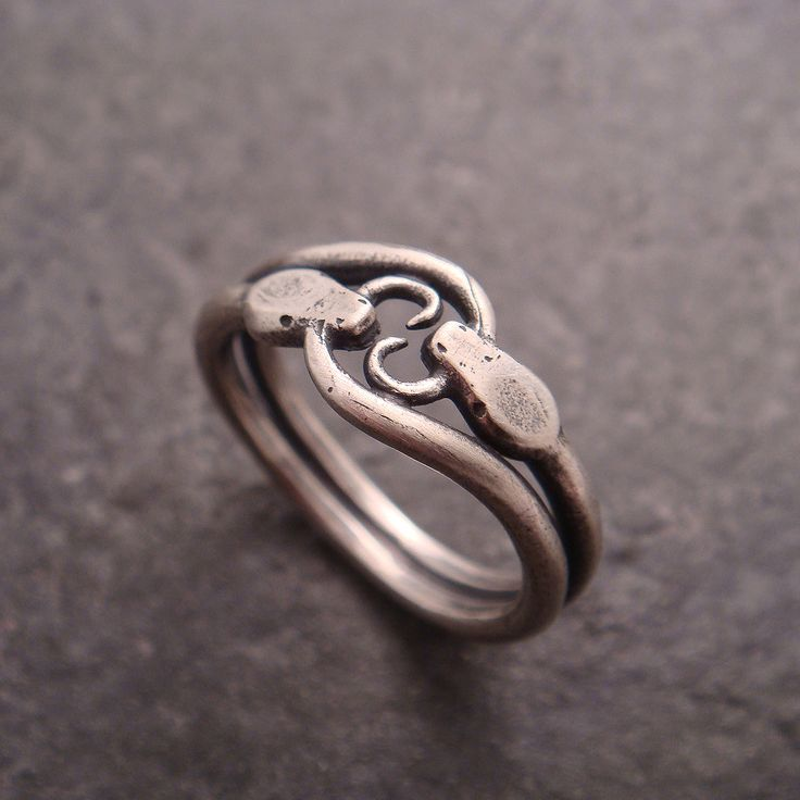 Double Ouroboros Snake Ring in Sterling by DownToTheWireDesigns