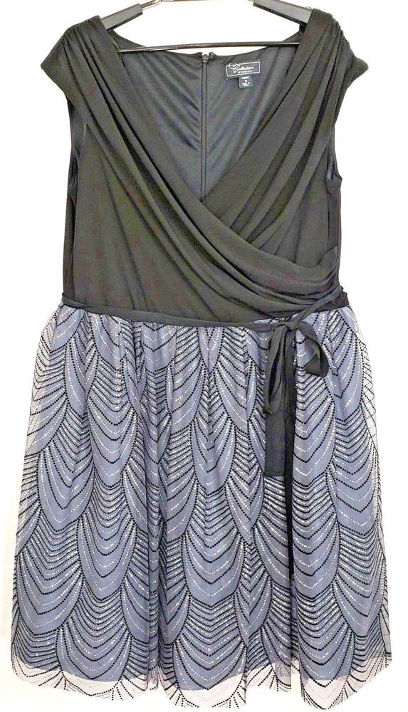 f0afcd543773 Dressbarn Womens 16 Formal Black Gray Stretch Sleeveless V Neck Sparkle  Dress #Dressbarn #WrapDress #Formal