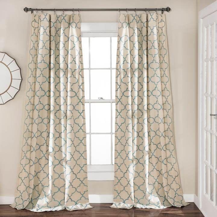 lush decor 2pack geo trellis window curtains x blue