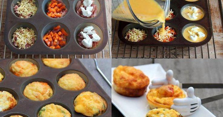 Składniki:-4 jaka, - ser feta, - szynka, - szczypiorek, - papryka, - pomidor, - ser żółty.Masę jajeczną wylewamy do przygotowanych foremek, na dnie których układamy wybrane składniki.Ja użyłam silikonowych i ...