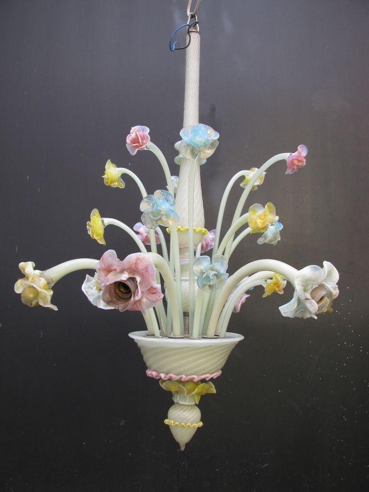 lampadario vetro colorato : Lampadario Veneziano in vetro colorato a 6 luci - Epoca: 1950