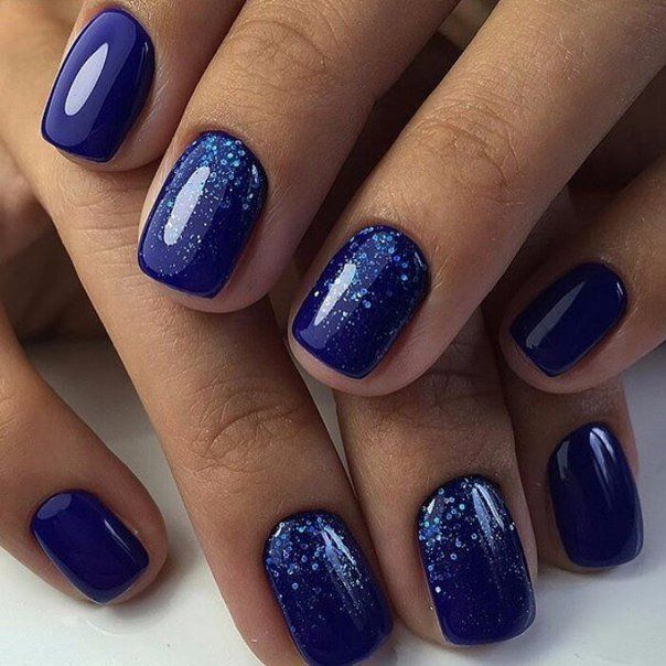Blue glitter nails, Blue nail art, Blue nails ideas, Blue shellac nails, December nails, Ideas of winter nails, Nail polish for blue dress, New Year nails 2017