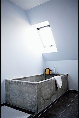Concrete Tub: peppermags: Interior: Concrete Bathroom
