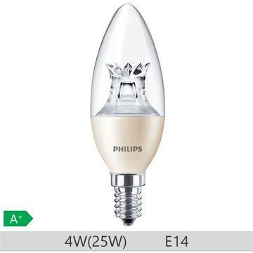 Bec LED Philips 4W E14 B38 250lm lumina calda http://www.etbm.ro/becuri-led