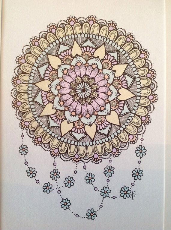 Original Mandala Art, Acrylic and Pen Painting, Pastel Colours with Black Line, flowers, daisies, zen, mindfulness