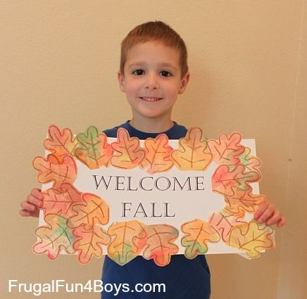 "This is a great craft to make with a preschooler - a ""Welcome Fall"" sign with coffee filter leaves!  The leaves would also be great on homemade greeting cards."