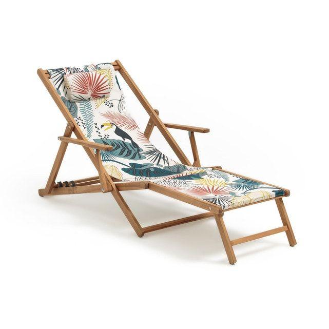 Chaise Longue Amezza Acacia Et Toile Chaise Longue Mobilier De Balcon Meuble Simple