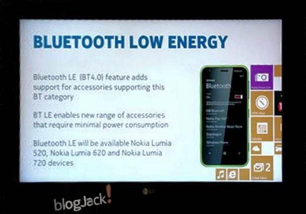 Secondo le informazioni trapelate nel blog cinese Blogjackphone.com, l'aggiornamento Nokia Amber avrà, tra l'altro, l'adozione del supporto a Bluetooth  4.0 per i Lumia 520, 620 e 720.